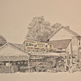Louis Quattrini Artwork Fruit Stand, 2005 Pen Drawing, Americana