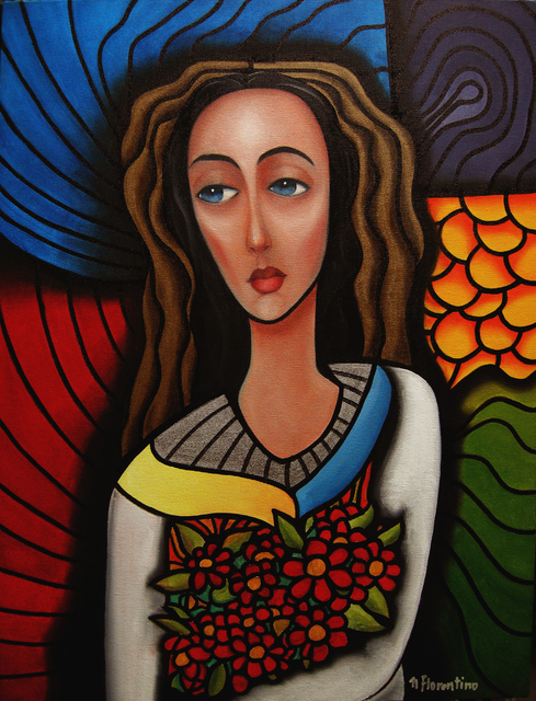 Newton Florentino  'Flower Girl', created in 2011, Original Painting Oil.