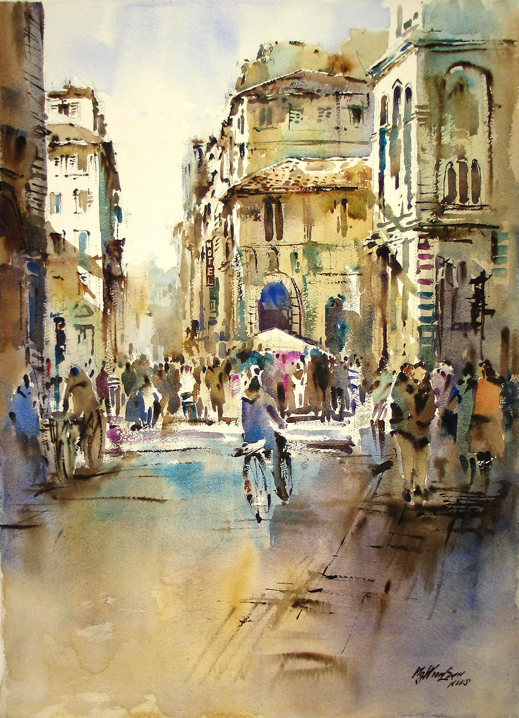 Watercolor artist websites - Singapore Watercolour Society Artist Ng Woon Lam Artwork Modern Impressionist Watercolor Duomo Florence Original Watercolor Cityscape Art