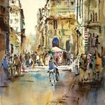 Modern Impressionist Watercolor Duomo Florence, Singapore Watercolour Society Artist Ng Woon Lam