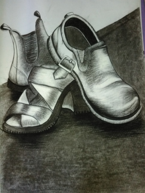 Nicole Brennan  'Shoes', created in 2003, Original Drawing Pencil.