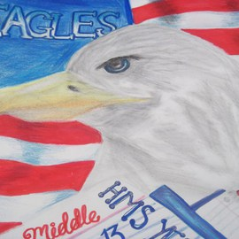 Nicole Pereira Artwork American Eagle, 2012 Pencil Drawing, Americana