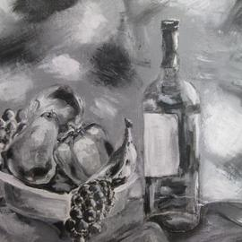 Fruit Bowl and Wine in Monochrome 2013 by Nicole Pereira