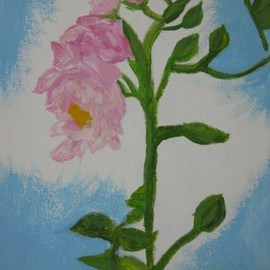 Nicole Pereira Artwork Pink Flower, 2011 Acrylic Painting, Floral