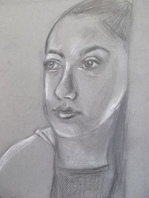 Pencil Drawing by Nicole Pereira titled: Self Portrait of Artist, 2013