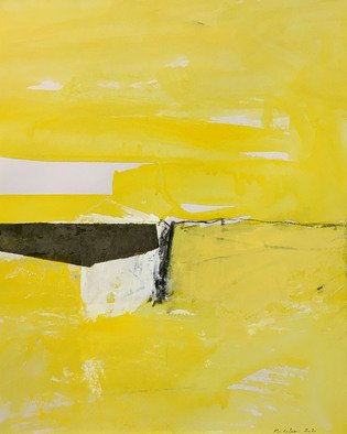 Alain Nicolet: 'giallo e nero 01', 2021 Acrylic Painting, Abstract Landscape. This painting belongs to a series started in 2020, and whose approach is built on a certain search for spatial and chromatic writing. ...