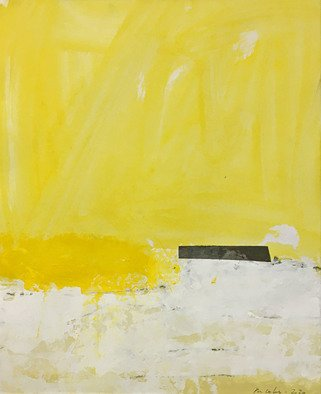 Alain Nicolet: 'giallo e nero 02', 2021 Acrylic Painting, Abstract Landscape. This painting belongs to a series started in 2020, and whose approach is built on a certain search for spatial and chromatic writing. ...