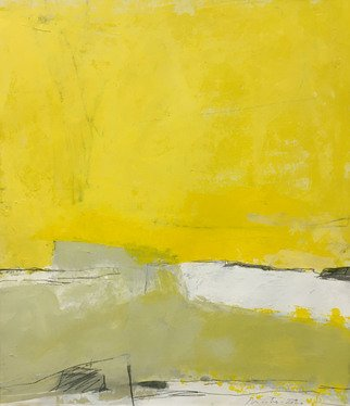 Alain Nicolet: 'giallo e nero 03', 2021 Acrylic Painting, Abstract Landscape. This painting belongs to a series started in 2020, and whose approach is built on a certain search for spatial and chromatic writing. ...