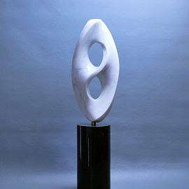 Leslie Dycke: 'kensho', 2017 Marble Sculpture, Buddhism. Artist Description: Kenhso is representative of the concept of enlightenment.  Like the human mind it exists in a confined area yet is infinite within.  The sculpture illustrates this by being limited on the outside but within exists a Mobius forma one- sided surface that curves bask upon itself.  Mathematically this ...