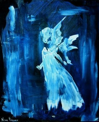 Niina Niskanen: 'blue angel', 2015 Acrylic Painting, Christian. Blue Angel is the symbol of protection, love and abundance.  Original acrylic painting painted on canvas.  Size 46 x 38 x 0,5 cm 18 x 15 x 0,2 inchesSigned by me, the artistGuaranteed originalSigned, with great love and careThis would make a great gift to yourself or ...
