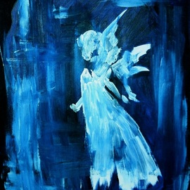 Niina Niskanen: 'blue angel', 2015 Acrylic Painting, Christian. Artist Description: Blue Angel is the symbol of protection, love and abundance.  Original acrylic painting painted on canvas.  Size 46 x 38 x 0,5 cm 18 x 15 x 0,2 inchesSigned by me, the artistGuaranteed originalSigned, with great love and careThis would make a great gift to ...