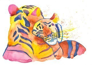 Niina Niskanen: 'cuddling tigers', 2018 Watercolor, Animals. Artist Description: Two adorable tigers cuddling with each others. Tigers are painted with shades of yellow, reds, blues and pink. Makes lovely decoration to the living room, bedroom, office. . etc. Painted completely with watercolors on acid- free watercolor paper. Measures: 30 x 41 cm   11,8 x 16,1 inches...