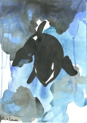 Niina Niskanen: 'orca', 2016 Watercolor, Animals. Artist Description: This is listing of my original painting watercolour painting called  Orca The killer whale  Orcinus orca , also referred to as the orca whale or orca, and less commonly as the blackfish or grampus, is a toothed whale belonging to the oceanic dolphin family, of which it is the ...