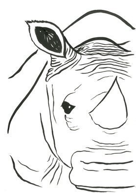 Niina Niskanen: 'rhino', 2017 Ink Painting, Animals. Artist Description: Rhinos represent wisdom and solitude. They have a very close connection to the ancient wisdom of the soul. Did you know that rhinos have been walking a long time on this earth  The ancestors of first rhinos existed already during the Eocene epoch  56aEUR