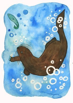 Niina Niskanen: 'swimming otter', 2018 Watercolor, Animals. Artist Description: I created this artwork for North Wales myths and legends projects to illustrate the story of Cerridwen. According to the legend the great witch Cerridwen made a potion in her magical cauldron to grant the gift of wisdom and poetic inspiration, also called Awen.The mixture had to ...