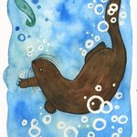 swimming otter By Niina Niskanen