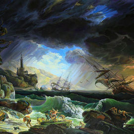 Sergey Lesnikov: 'a shipwreck', 2010 Oil Painting, Sea Life. Artist Description: Claude- Joseph Vernet - A Shipwreck in Stormy Seas.sea, storm, shipwreck...