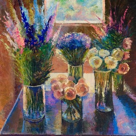 Sergey Lesnikov: 'flowers by the window', 2020 Oil Painting, Floral. Artist Description: Oil on canvas...
