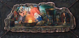 Sergey Lesnikov: 'holy grail', 2014 Oil Painting, Religious. Artist Description: Original still life composithion with a flemish background. Massive board, metall, aged oil painting. ...