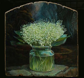 Sergey Lesnikov: 'lilies of the valley', 2016 Oil Painting, Floral. Artist Description: Oil on wood panel...