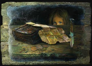 Sergey Lesnikov: 'old map', 2015 Oil Painting, Psychology. Artist Description: Oil painting, old wood...