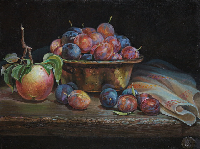 Sergey Lesnikov  'Plums', created in 2019, Original Painting Oil.