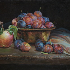 Sergey Lesnikov: 'plums', 2019 Oil Painting, Still Life. Artist Description: Plums, oil on linen...