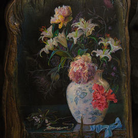 Sergey Lesnikov: 'still life with necklace', 2017 Oil Painting, Floral. Artist Description: artwork on heavy vintage piece of wood, framed in metall. . ...