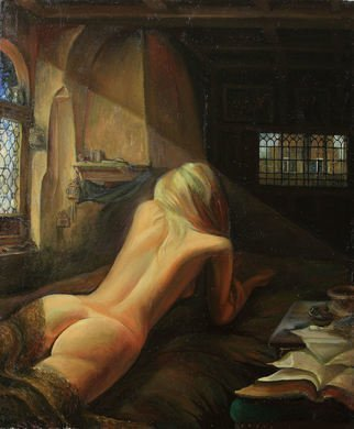 Sergey Lesnikov: 'waiting for the prince', 2013 Oil Painting, Erotic. Artist Description: girl, nude, oil on canvas...