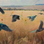 wheatfield with crows By Sergey Lesnikov