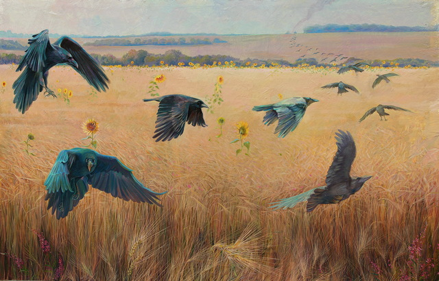 Sergey Lesnikov  'Wheatfield With Crows', created in 2017, Original Other.