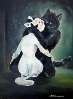 Viacheslav Nikolaev Artwork 'cuddle yin and yang', 2006. Oil Painting. Animals. Artist Description: Fantasy of Buddhism......