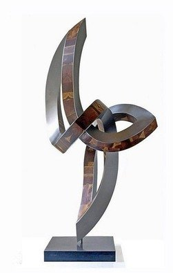 Nikolaus Weiler: 'ueberschwuenge', 2017 Sculpture, Abstract. Artist Description: steel, woodrotable in a base...