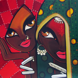 Niloufer Wadia: 'Friends', 2012 Acrylic Painting, Figurative. Artist Description:  2 tribal women laughing together. Bright veils add to the graphic shapes in this art      ...