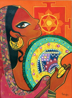 Niloufer Wadia: 'Heat 2', 2015 Acrylic Painting, Figurative.  An exotic woman from India, in the sweltering heat, fanning herself with a typical embroidered Gujarati fan. Surya - the sun god, Yantra in the background ...