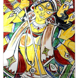 Man Singh Nirwan Artwork Durga Yellow, 2005 Other Ceramics, Abstract Figurative