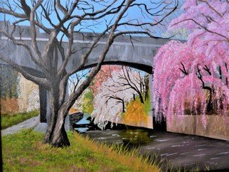 Marilyn Domilski: 'cherry blossoms', 2018 Oil Painting, Landscape. Artist Description: Cherry Blossoms measures 16 x20   original oil on canvas and features a park during the Spring season.  Many hues of pinks, lavenders and white abound.  A footbridge crosses over a creek. Along the creek is a pedestrian path featuring many trees and foliage. ...