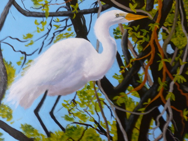 Marilyn Domilski  'Great White Heron', created in 2021, Original Painting Other.