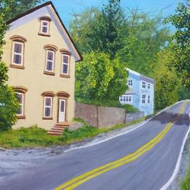 Marilyn Domilski: 'rural highway', 2021 Oil Painting, Landscape. Artist Description: Painting depicts a rural upstate New York local highway during the summer season. ...