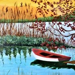 sunset rowboat By Marilyn Domilski