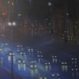 Natia Khmaladze Artwork City Lights Through Tears, 2013 Oil Painting, Urban