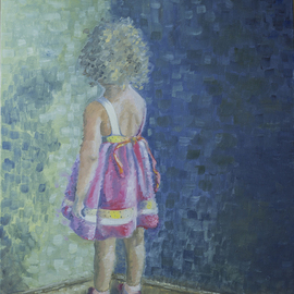 Natia Khmaladze: 'Masho', 2014 Oil Painting, Portrait. Artist Description:   little girl child kid in the corner red dress curly hair cute red shoes standing oil on canvas impressionism  ...
