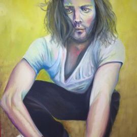 Natia Khmaladze: 'The Reader', 2015 Oil Painting, Portrait. Artist Description:   male portrait reader man with a book man with long hair guy boy oil on canvas yellow full body  ...