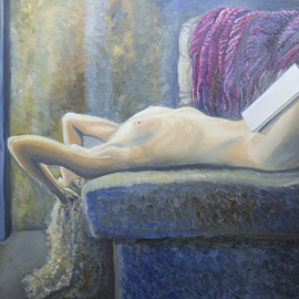 Natia Khmaladze: 'The Unbearable Lightness', 2013 Oil Painting, Portrait. Artist Description:  female woman on the couch body nude long hair curly living room book reading glamour intimate  ...