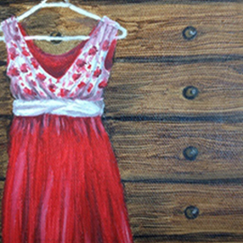 Natia Khmaladze: 'waiting', 2015 Oil Painting, Still Life. Artist Description:      chest of drawers red dress hanging timber still life oil on canvas modern art petite painting ...