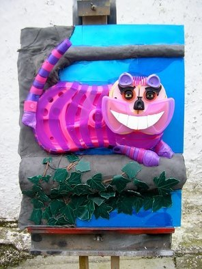 Noel Molloy: 'cheshire cat', 2014 Mixed Media Sculpture, Figurative. Artist Description:    on the story of Alice in Wonderland   ...