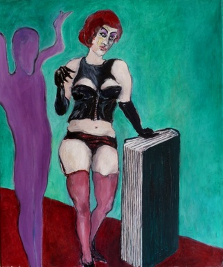 Erotic Oil Painting by H Schlagen Title: Die Buchhaendlerin, created in 2011