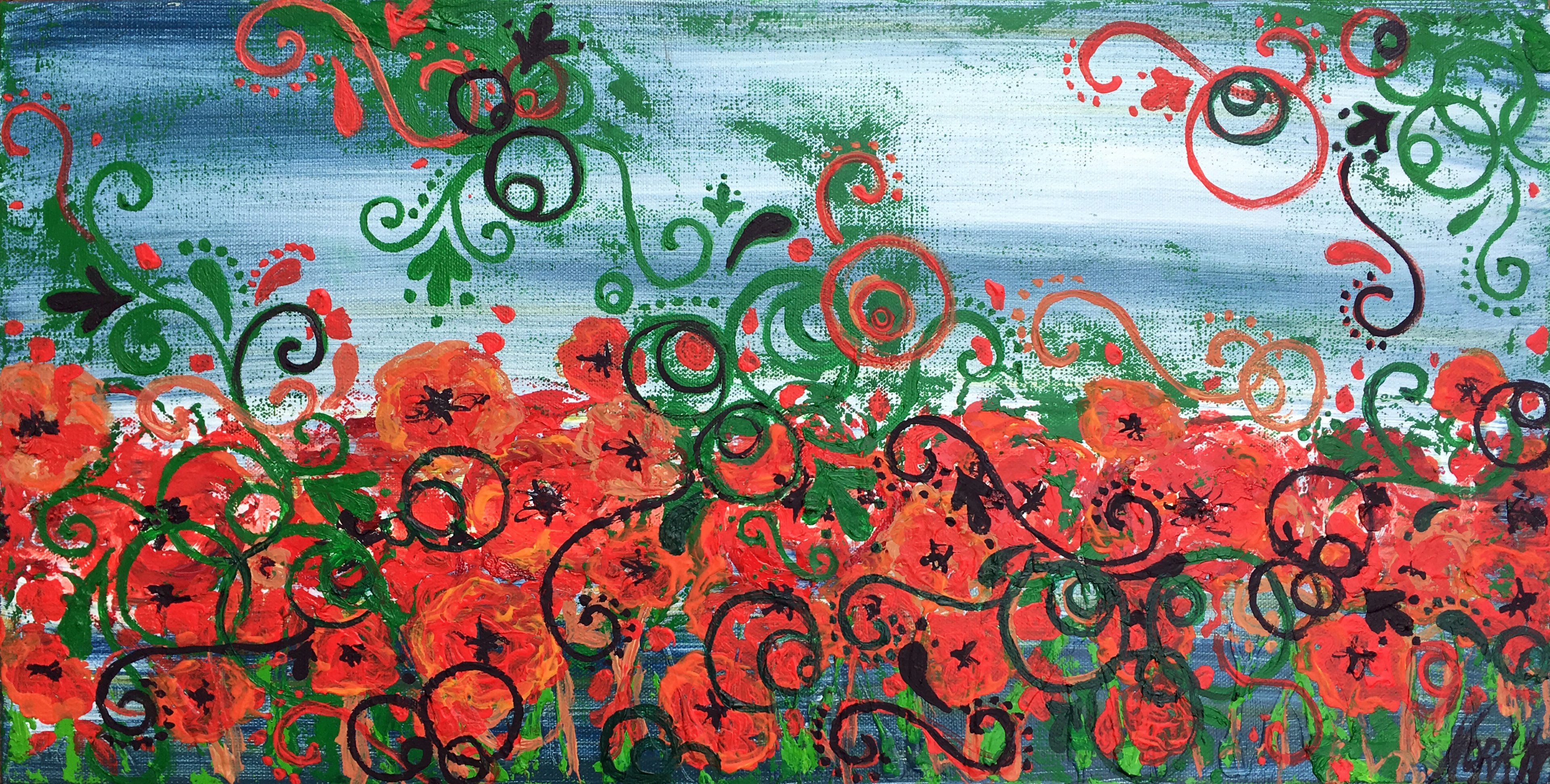 Nora Franko: 'Red Poppies in Eccentric Field', 2015 Oil Painting, Abstract Landscape. Artist Description: Original Oil Painting on Gallery Wrapped Canvas. The storm just pasted on the battle field. Row on Rowsee the past. ...