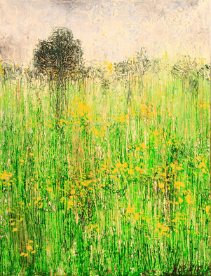 Nora Franko Artwork yellow field, 2016 Oil Painting, Abstract Landscape