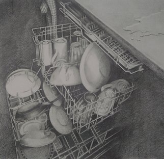 Nora Meyer: 'Dirty Job', 2008 Pencil Drawing, Interior.  graphite pencil on paper ...